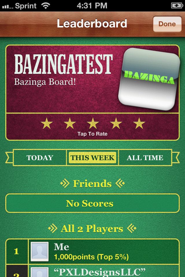 Bazinga Leader Board - Apple Game Center